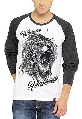 Camiseta Raglan Wevans  Leão Tattoo Cinza
