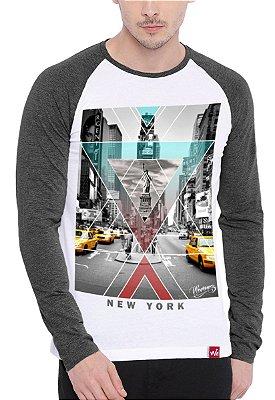 Camiseta Raglan Wevans Manga Longa New York Cinza