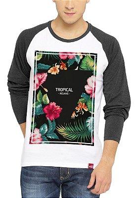 Camiseta Raglan Wevans Manga Longa Floral Tropical Cinza