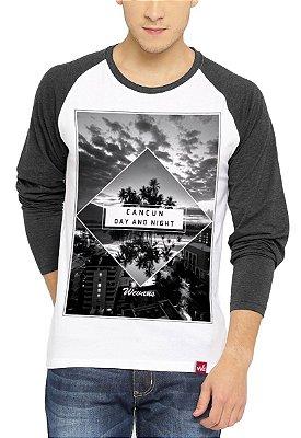 Camiseta Raglan Wevans Manga Longa Cancun Cinza