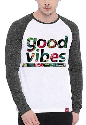 Camiseta Raglan Wevans Good Vibes Cinza