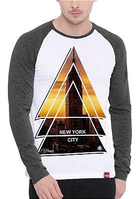 Camiseta Raglan Wevans Manga Longa NYC Tringle Cinza