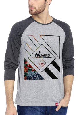 Camiseta Raglan Wevans Manga Longa Floral Geometric Cinza