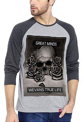 Camiseta Raglan Wevans Manga Longa True Life Cinza