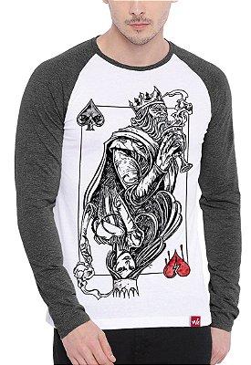 Camiseta Raglan Wevans Manga Longa Rei de Espada Cinza