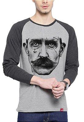 Camiseta Raglan Wevans Manga Longa Marujo Tattoo Cinza