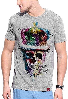 Camiseta Wevans  Caveira Colors Cinza