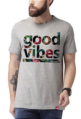 Camiseta Wevans Good Vibes Cinza