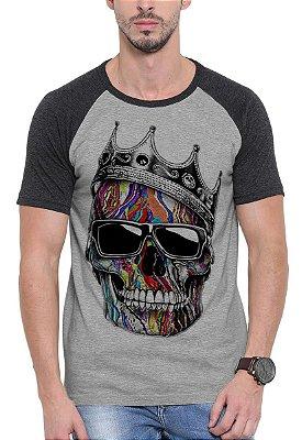Camiseta Raglan Wevans  Caveira Coroa Cinza