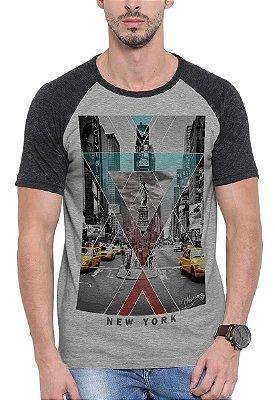 Camiseta Raglan Wevans  New York Cinza