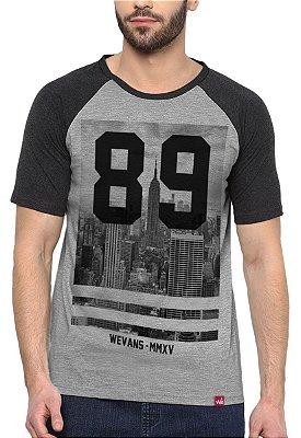 Camiseta Raglan Wevans  Number 89 Cinza