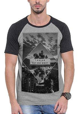 Camiseta Raglan Wevans  Cancun Cinza
