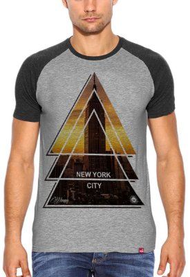 Camiseta Raglan Wevans  NYC Tringle Cinza