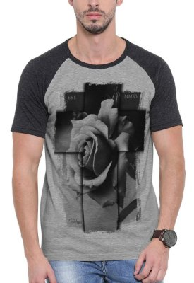 Camiseta Raglan Wevans  Cruz 3D Cinza