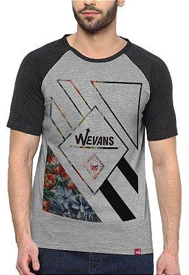 Camiseta Raglan Wevans  Floral Geometric Cinza