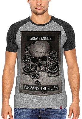 Camiseta Raglan Wevans  True Life Cinza