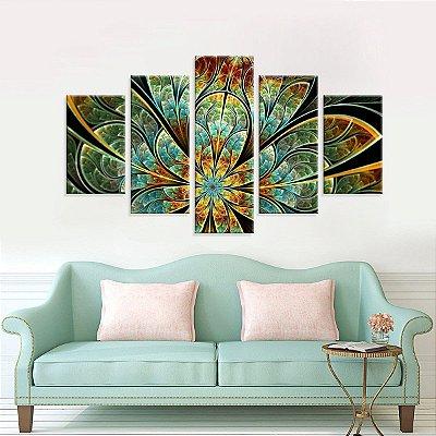Conjunto de 5 Telas Decorativas em Canvas Abstrato Flor Verde