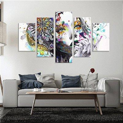 Conjunto de 5 Telas Decorativas em Canvas Abstrato Face