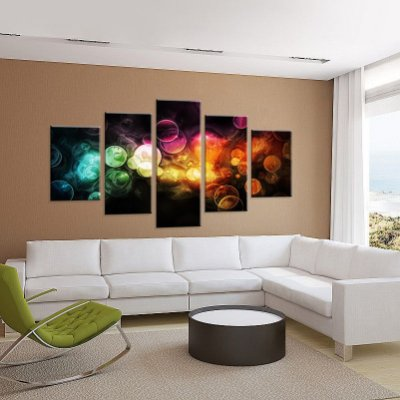 Conjunto de 5 Telas Decorativas em Canvas Abstrato luz