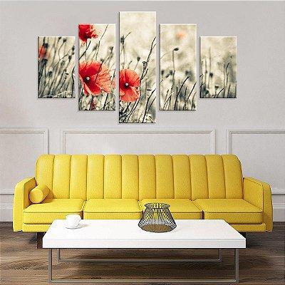 Conjunto de 5 Telas Decorativas em Canvas Flor Laranja