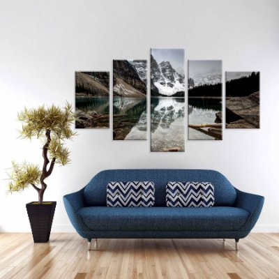 Conjunto de 5 Telas Decorativas em Canvas Montanhas Geladas