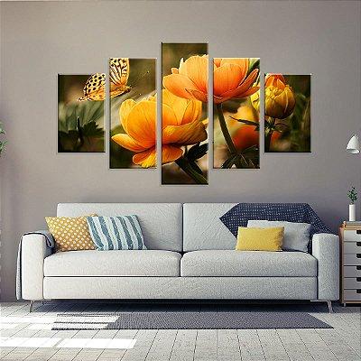 Conjunto de 5 Telas Decorativas em Canvas Rosas Amarelas