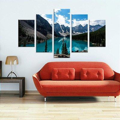 Conjunto de 5 Telas Decorativas em Canvas Lago e Montanhas