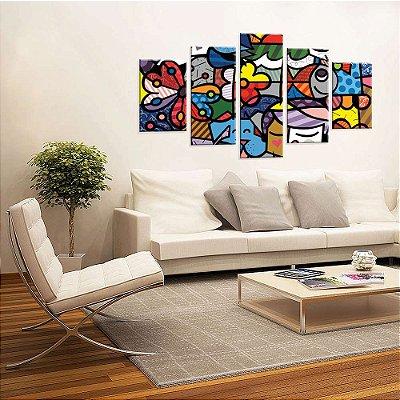 Conjunto de 5 Telas Decorativas em Canvas Multi Color