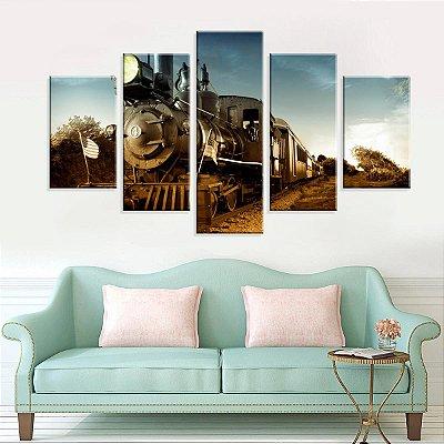 Conjunto de 5 Telas Decorativas em Canvas Trem