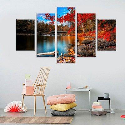 Conjunto de 5 Telas Decorativas em Canvas Belo Outono