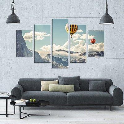 Conjunto de 5 Telas Decorativas em Canvas Hot Balloon