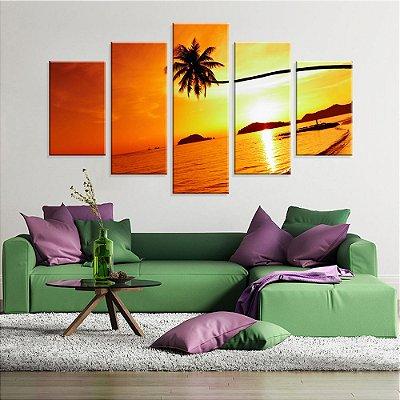 Conjunto de 5 Telas Decorativas em Canvas Por do Sol  da Tailandia