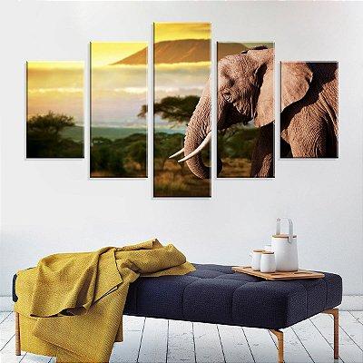 Conjunto de 5 Telas Decorativas em Canvas Elefante