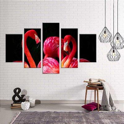 Conjunto de 5 Telas Decorativas em Canvas Flamingo