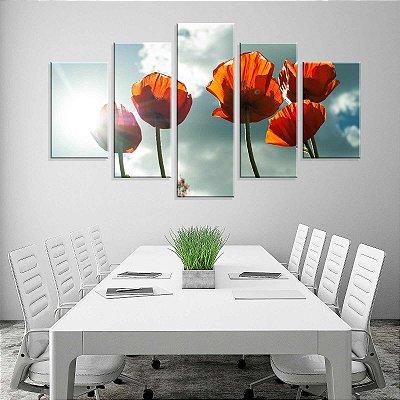 Conjunto de 5 Telas Decorativas em Canvas Flor de Luz