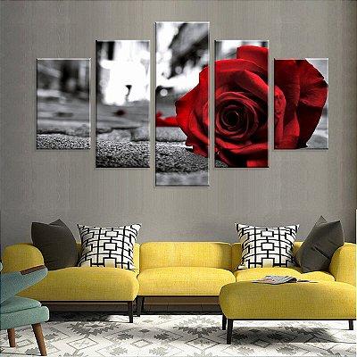 Conjunto de 5 Telas Decorativas em Canvas Red Rosa