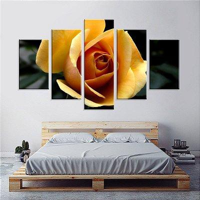Conjunto de 5 Telas Decorativas em Canvas Rosa amarela