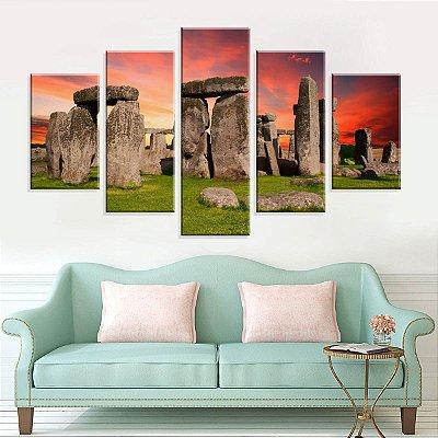 Conjunto de 5 Telas Decorativas em Canvas Salisbury Stonehenge