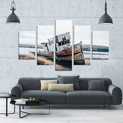Conjunto de 5 Telas Decorativas em Canvas Barco