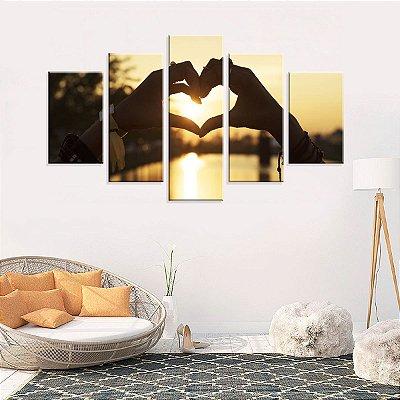 Conjunto de 5 Telas Decorativas em Canvas  Love