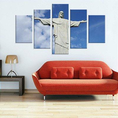 Conjunto de 5 Telas Decorativas em Canvas Cristo Redentor