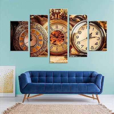 Conjunto de 5 Telas Decorativas em Canvas Relogios