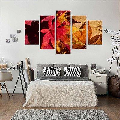 Conjunto de 5 Telas Decorativas em Canvas Folhas de Outono
