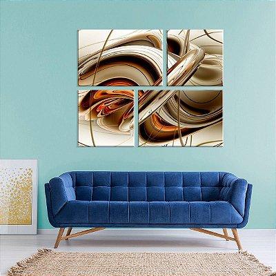 Conjunto de 4 Telas Decorativas em Canvas Abstrato