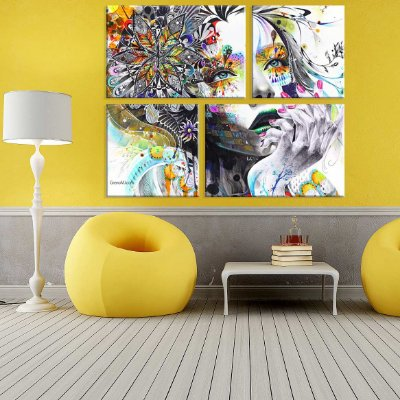 Conjunto de 4 Telas Decorativas em Canvas Face