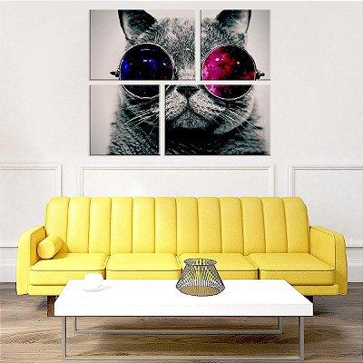 Conjunto de 4 Telas Decorativas em Canvas Gato de Òculos
