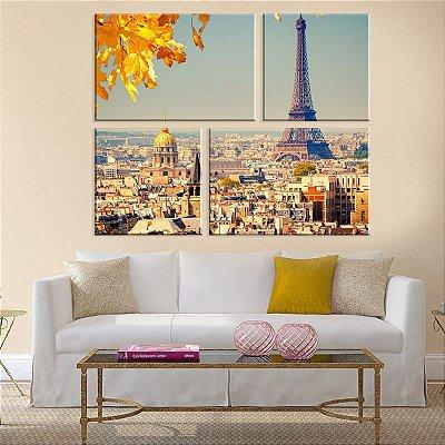 Conjunto de 4 Telas Decorativas em Canvas Outono em Paris
