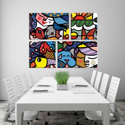 Conjunto de 4 Telas Decorativas em Canvas Multicolor