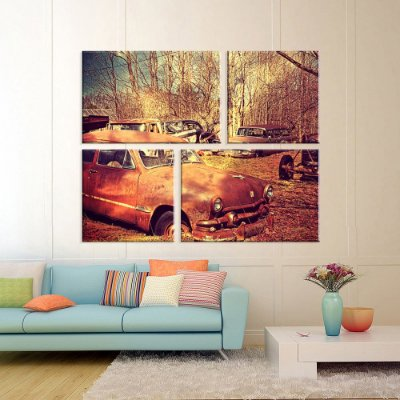Conjunto de 4 Telas Decorativas em Canvas Retro Car