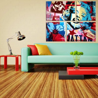 Conjunto de 4 Telas Decorativas em Canvas Marilyn Color